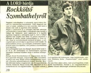 Balogh Jozsef a Lord bárdja, a lord dalszövegírója