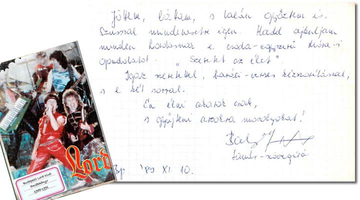 Balogh József bejegyzése a Budapesti Lord Klub naplójába 1989-ben