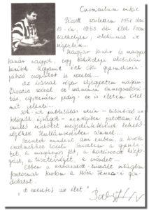 Balogh József kézzel írt önéletrajza az 1987-es Lordolgok című könyvben