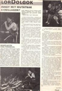 Interjú Vida Ferenccel az egykori Polip ujságban1988-ból