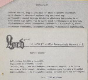 A lovászi Lord Klub megalaklulásának levele